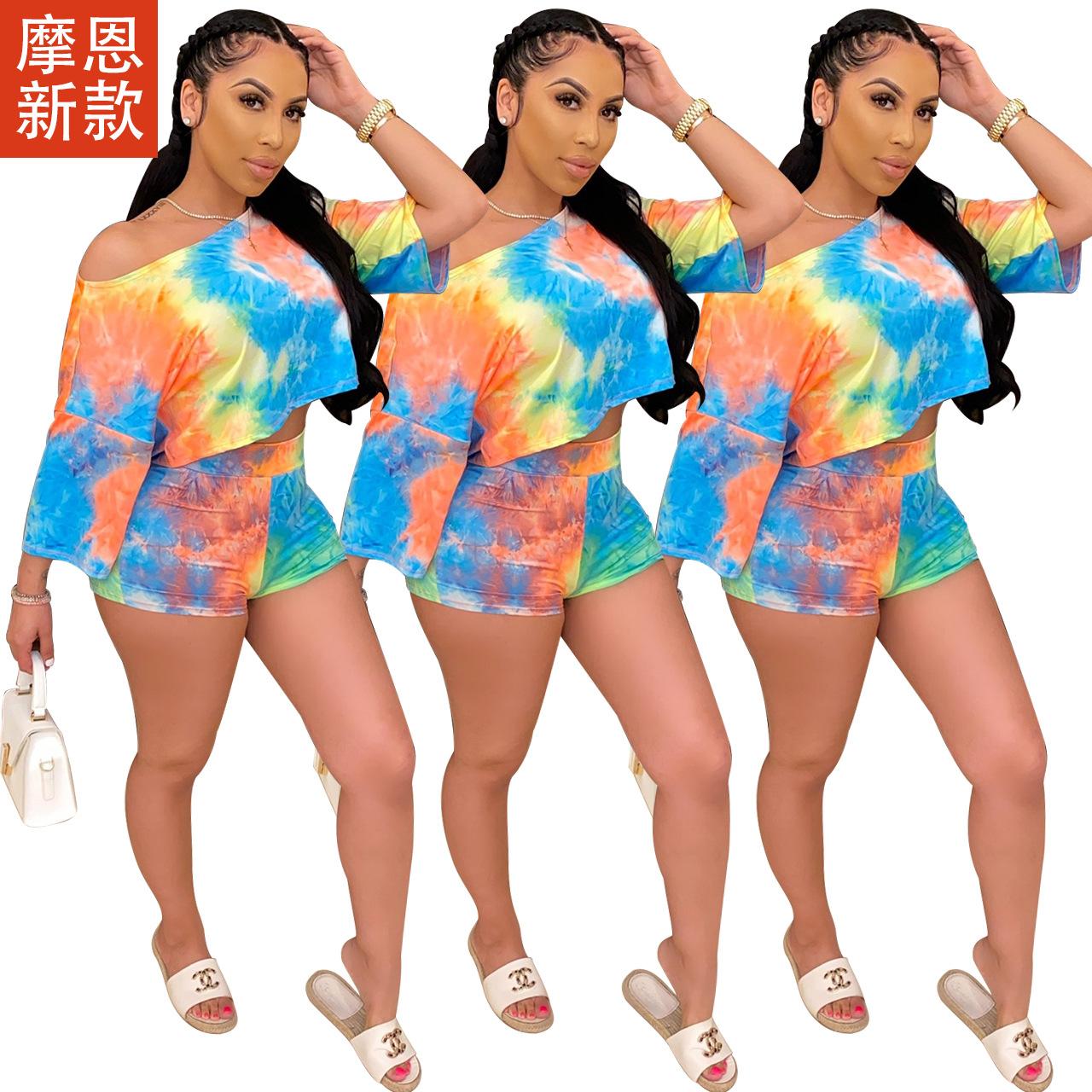 Q542  欧美女装 亚马逊女装 渐变色气质提臀修身微喇 两件套