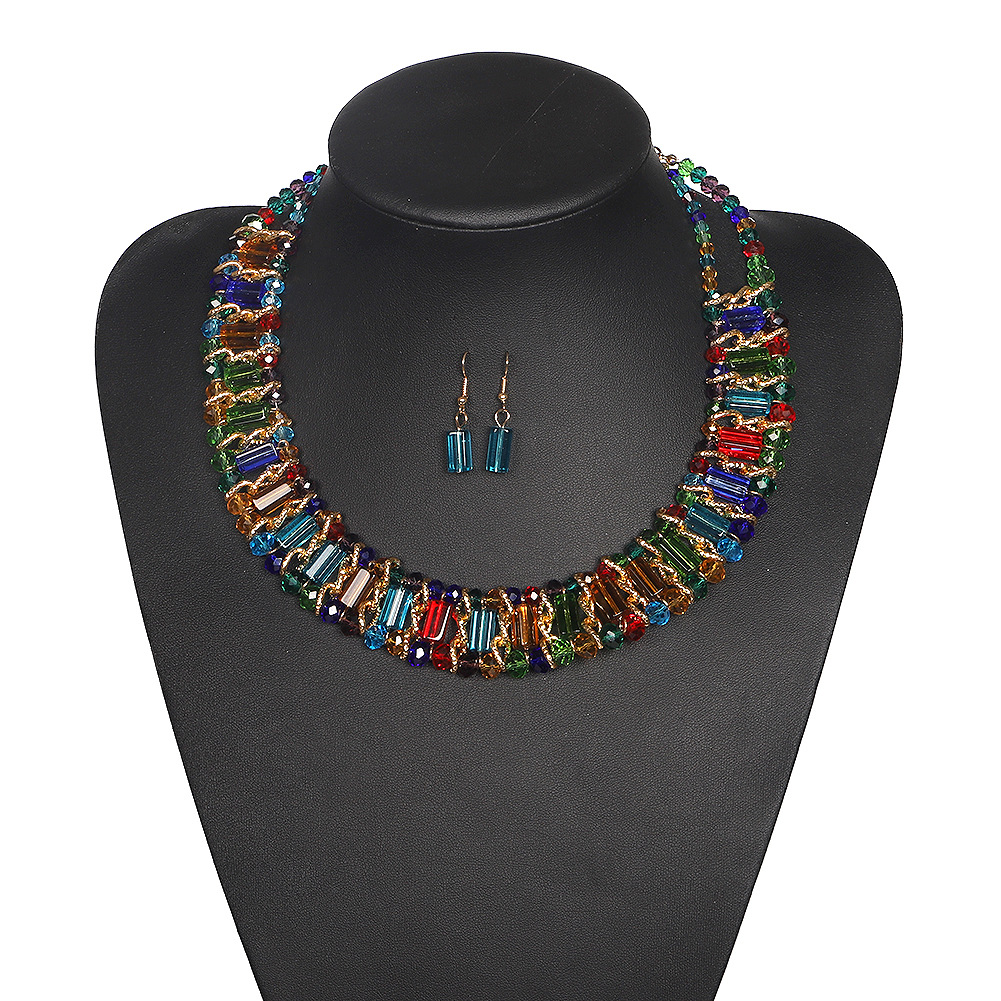 New Handmade Beaded Color Necklace Fashion Plated Acrylic Stereo Gourd Earrings Set NHJQ202643