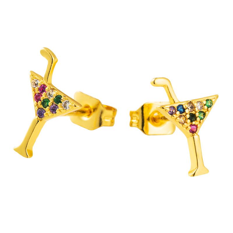 Gold-plated brass micro-set color zircon earrings cocktail glass earrings wholesale nihaojewelry NHLN226198