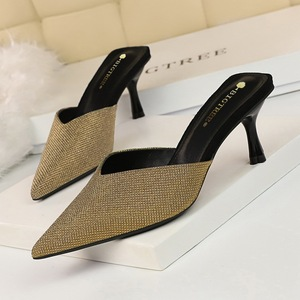 Han edition 233-1 new style high contracted baotou slippers with shallow pointed mouth shining sequins cloth lazy women