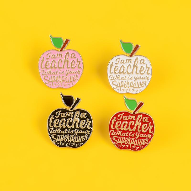 Creative gift brooch four-color apple high-end enamel teacher brooch collar pin wholesale NHBO199840