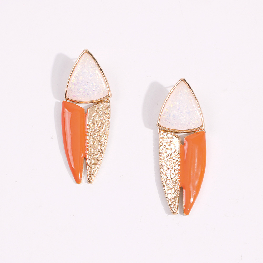 Geometric creative stitching metal earrings fashion painting oil acrylic jewelry earrings NHMD200974