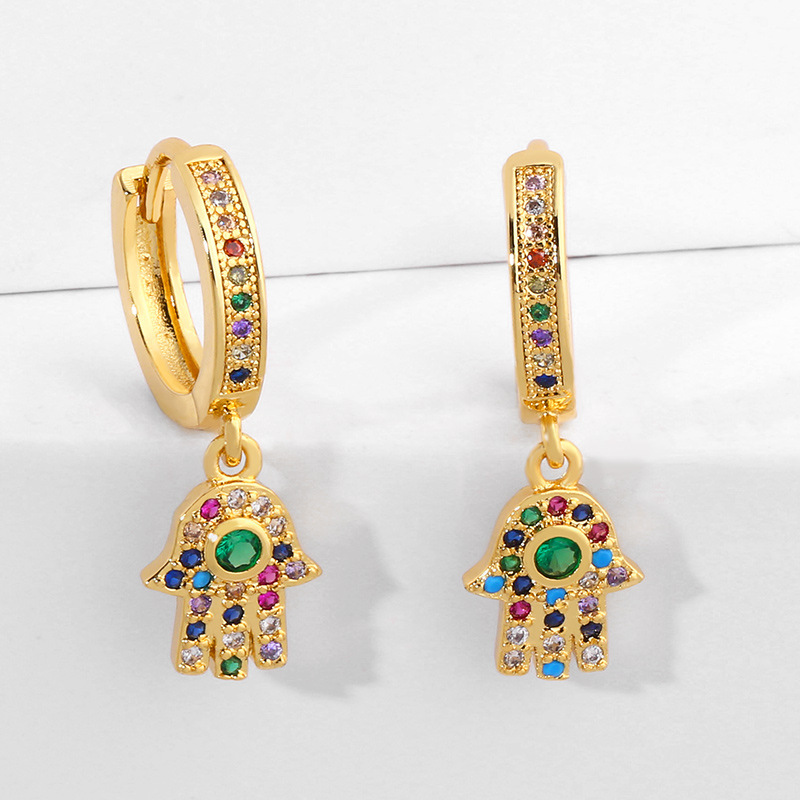 Alloy Full Diamond Earrings with Palm Color Eye Earrings NHAS205227