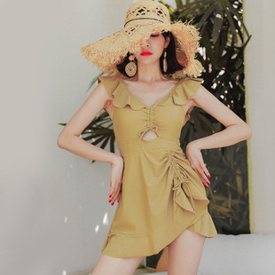 Japanese and Korean ins super fairy trend new swimsuit women's belly conservative and thin one-piece skirt hot spring swimsuit