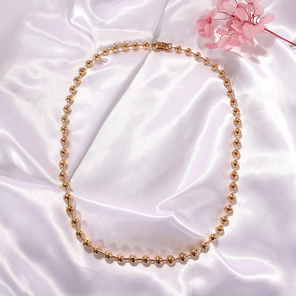Gold and silver two-color geometric round millet beads metal simple and versatile fashion necklace NHJQ243077
