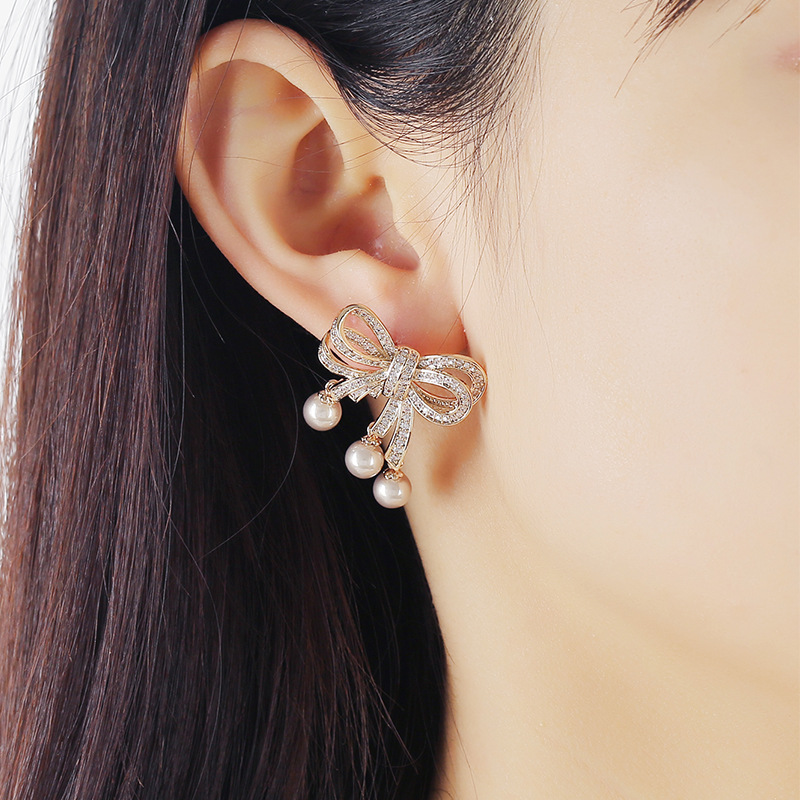 New Pearl S925 Silver Needle Trend Simple Retro Multi-layer Bow Earrings NHKQ199034