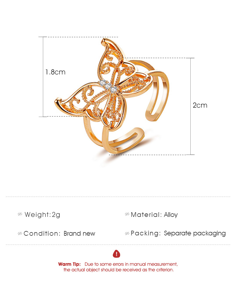 new jewelry exaggerated hollow butterfly ring ladies fashion light luxury personality open ring wholesale nihaojewelry  NHMO219202
