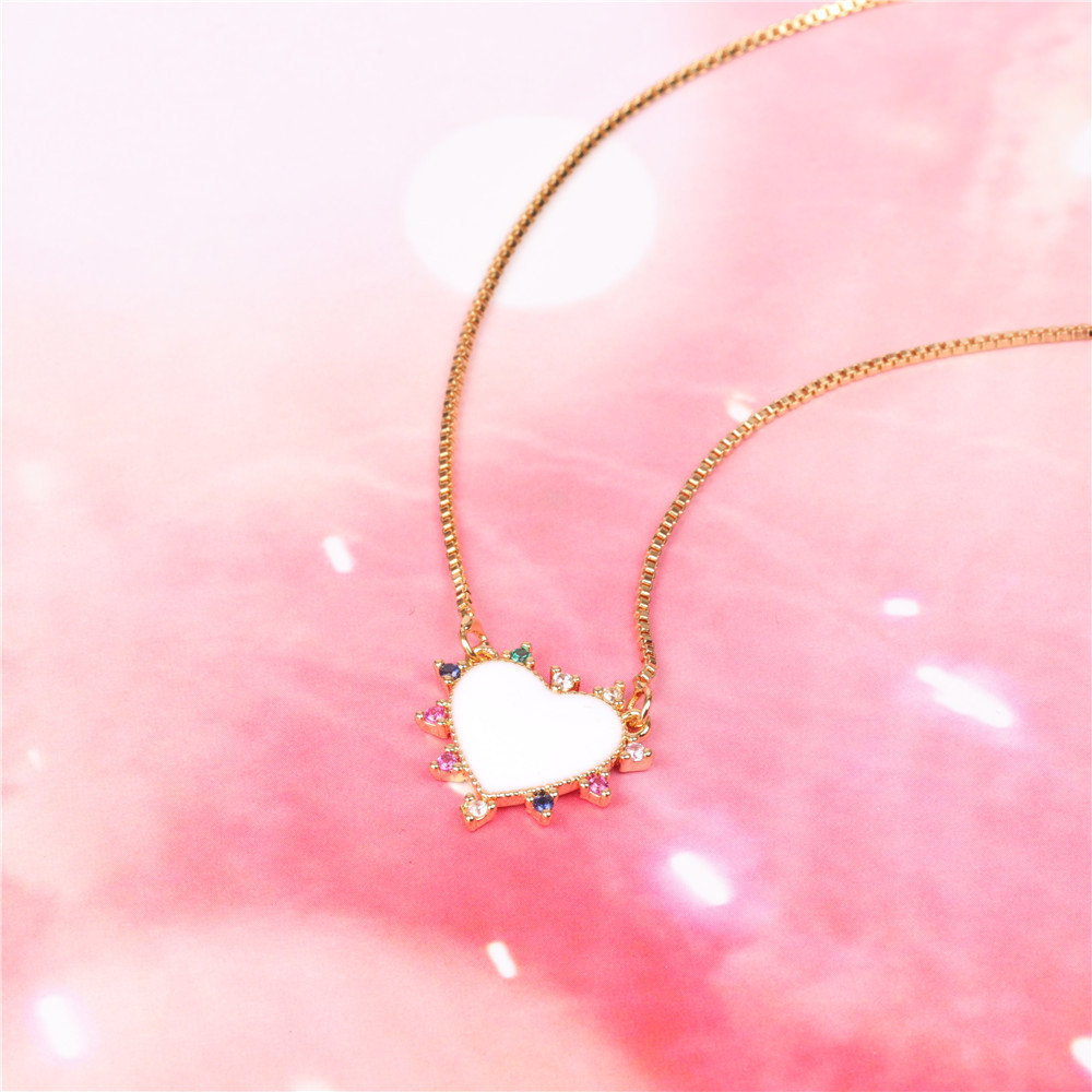 New Accessories Red Dripping Oil Love Necklace Fashion Sweet Micro-Set Zircon Stainless Steel Necklace NHPY198221