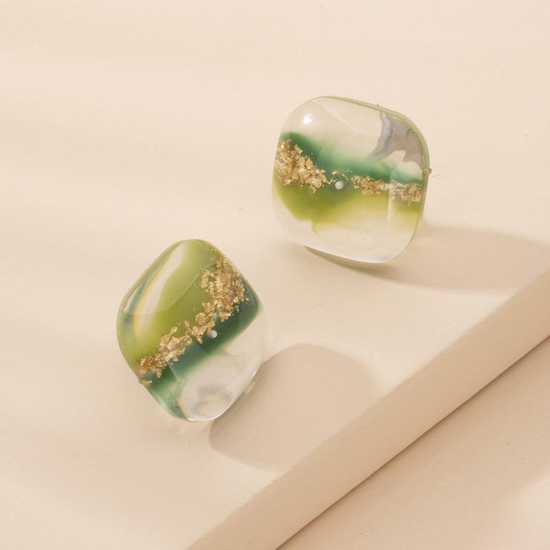 Korea resin color plastic simple cute earrings for women wholesale  NHAI241802