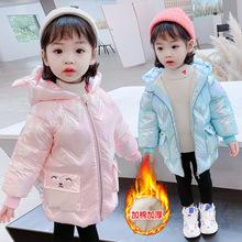 女童亮皮棉服2020新款冬季洋气韩版中长款加绒女宝宝外套小童棉衣