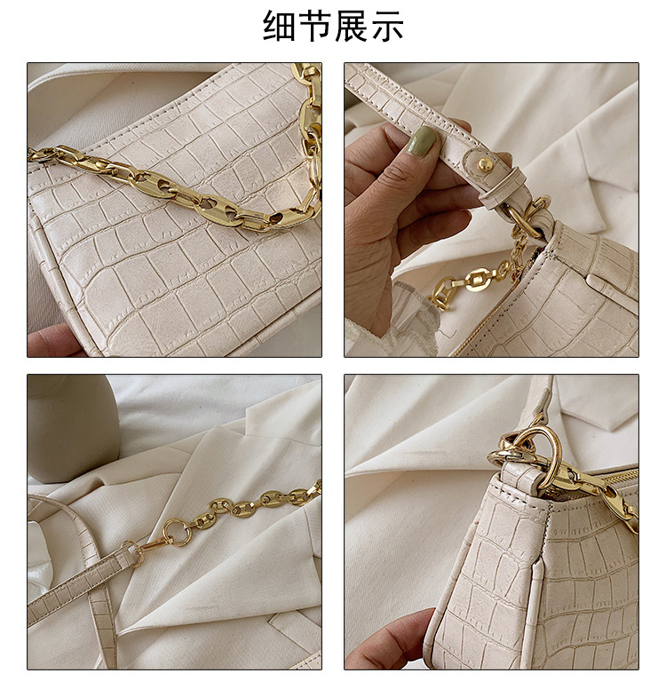 fashion stone pattern shoulder messenger underarm bag new summer solid color chain portable wholesale nihaojewelry NHPB220813