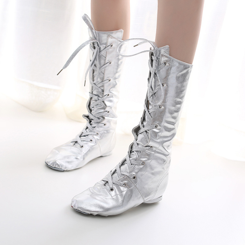 Gold and silver lengthened jazz shoes modern dance jazz shoes performance shoes dance shoes rainbow