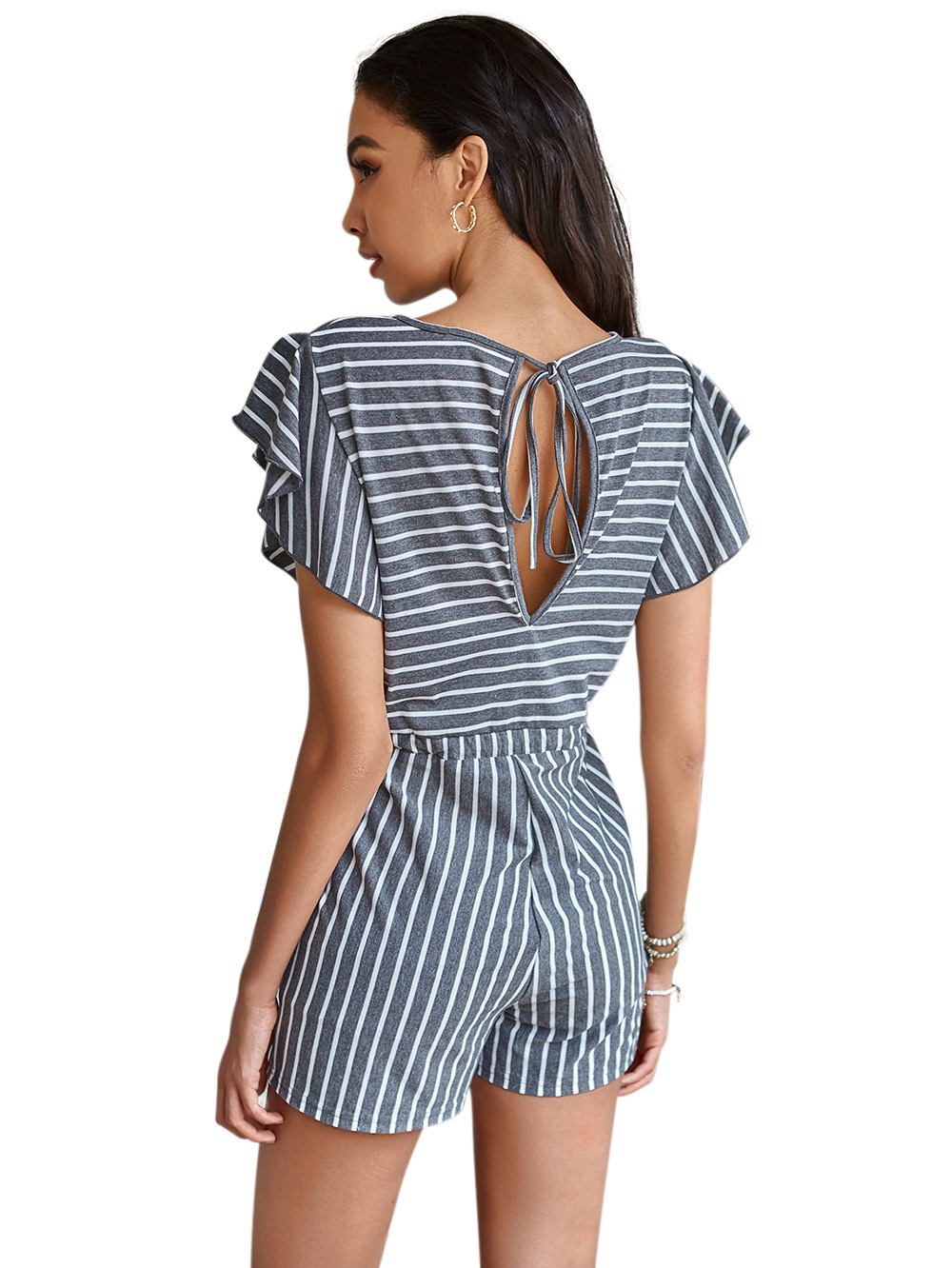 summer new fashion printed lace-up striped halter lace-up women's jumpsuit short sleeve top NSDF1552