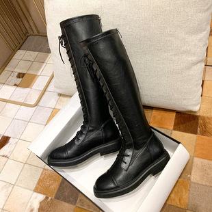 Leather boots 2021 autumn and winter new boots, but knee boots are thin, stretch boots, flat back zipper high boots