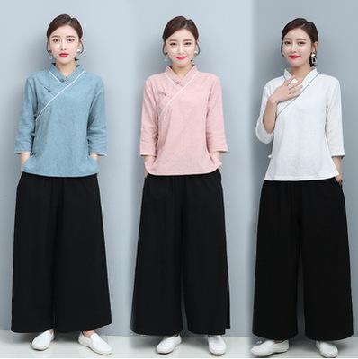 Chinese style Hanfu cotton and linen Yoga clothes taichi Two-piece Zen tea suit Zen layman's clothing suit women