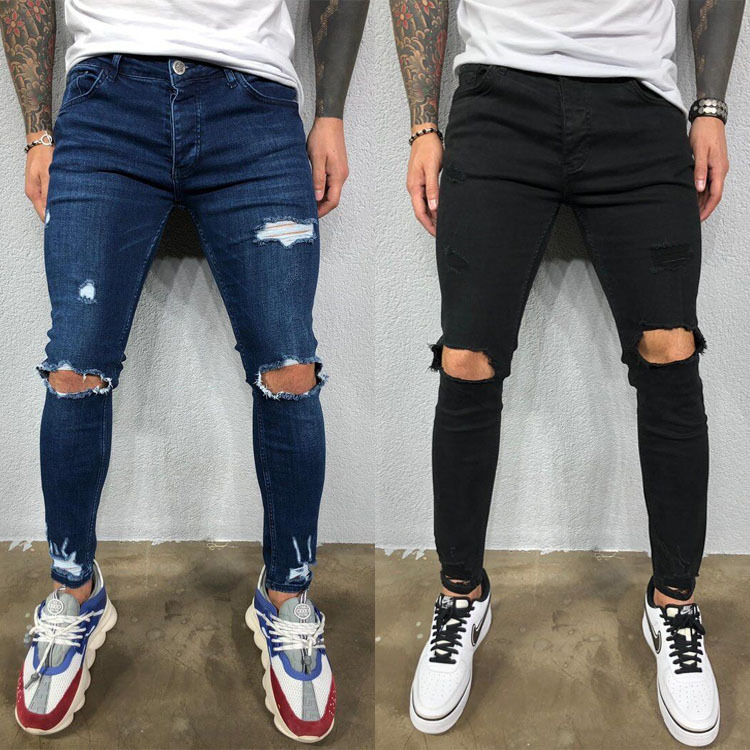European And American Men'S Perforated Elastic Small Leg Jeans Tear New Jeans