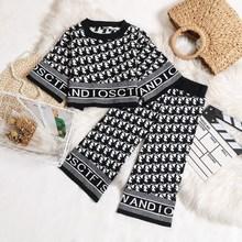 女童套装洋气时髦初秋装韩版宝宝炸街阔腿裤千鸟格圆领毛衣两件套