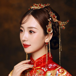 Niangxiuhe headdress style ancient atmosphere Phoenix crown step shake Xiuhe wedding ornament female