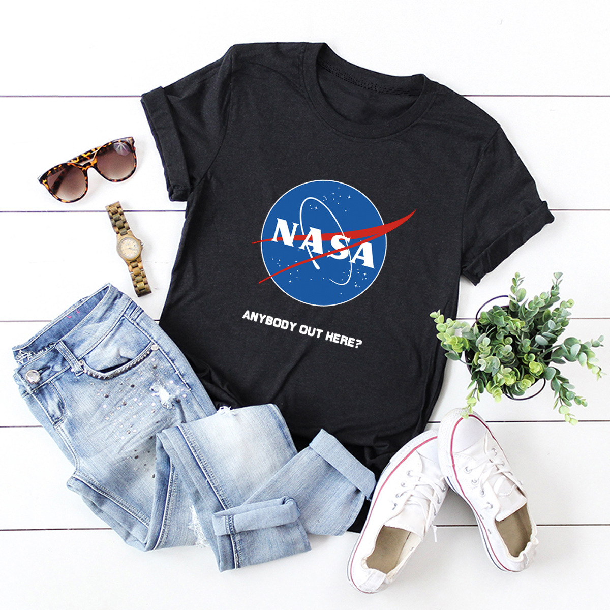women's comfortable short-sleeved tops T-shirt NASA space NSSN1453