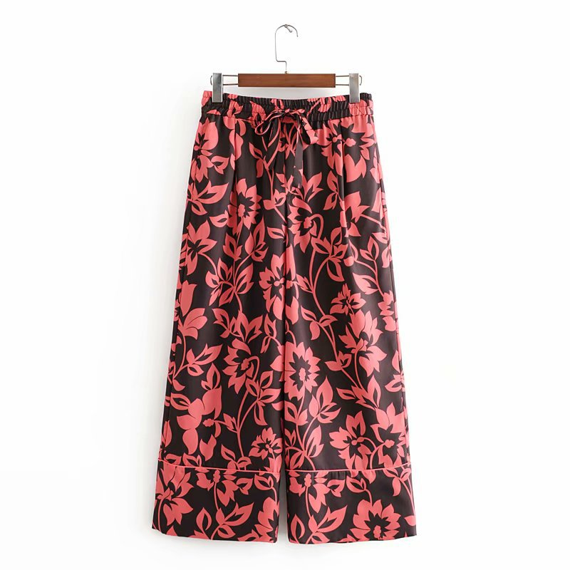Wholesale new women's wild retro loose casual printed trousers wide leg pants NHAM203370