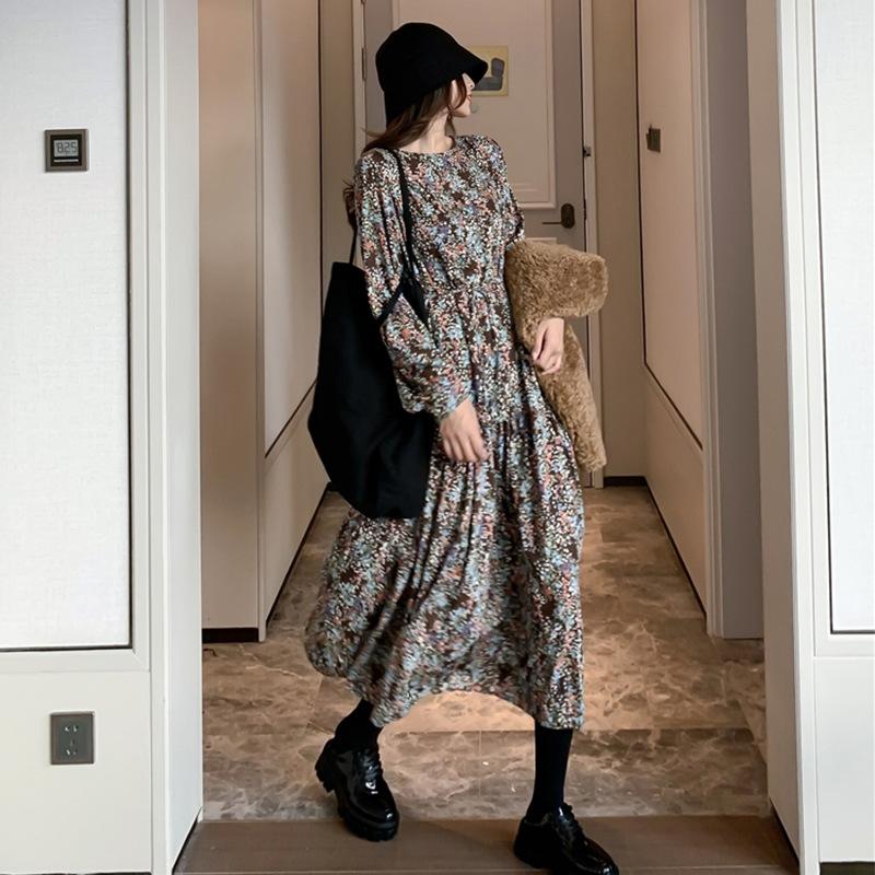 长袖碎花雪纺连衣裙两件套女秋冬长款内搭长裙套装秋装2020年新款