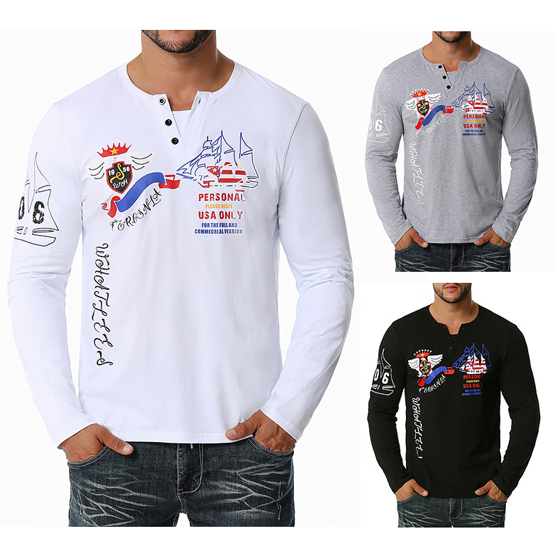 Men'S European English Print Western Cowboy Henry Long Sleeve T-Shirt