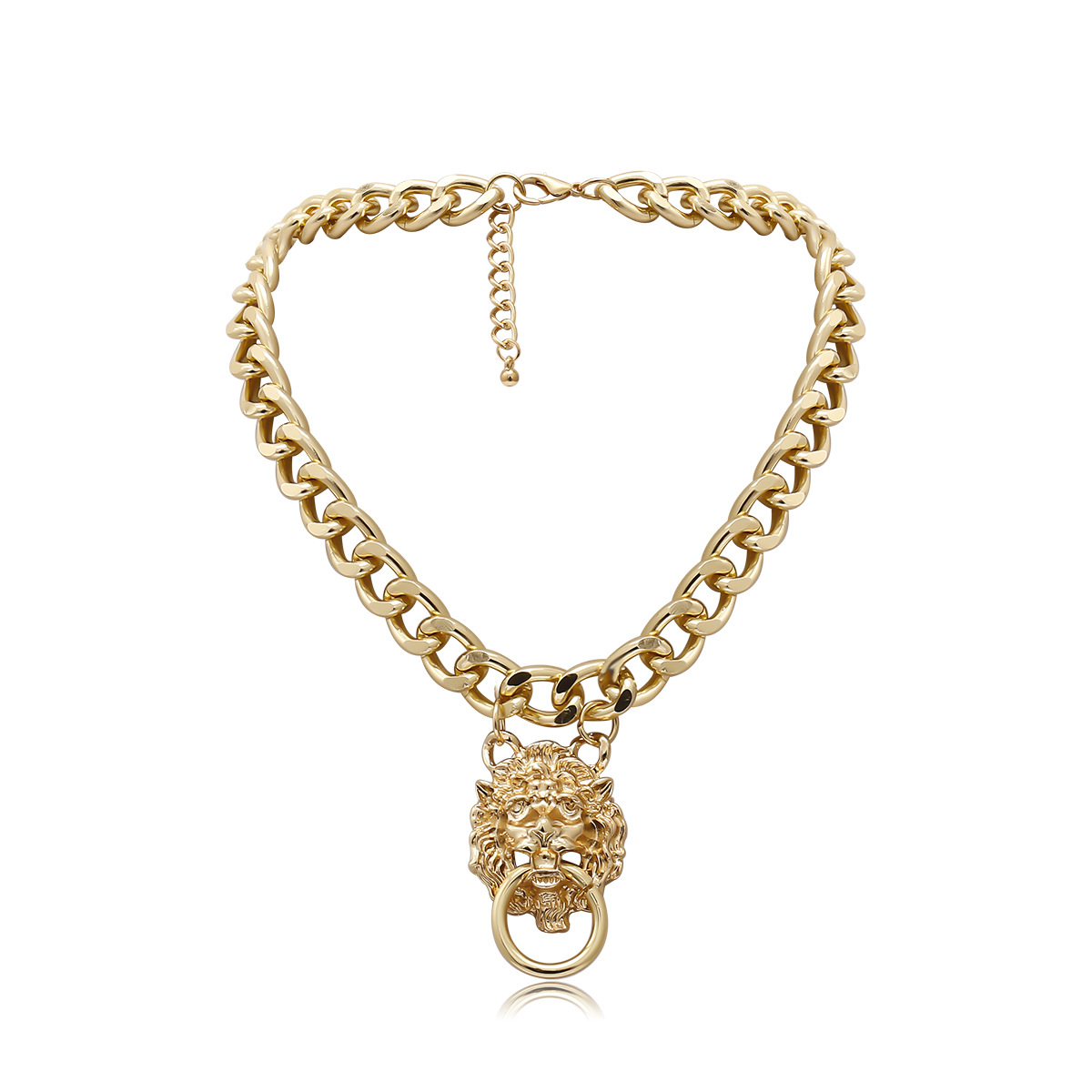 New fashion single-layer punk lion head necklace hip-hop trend exaggerated three-dimensional necklace women NHXR204536