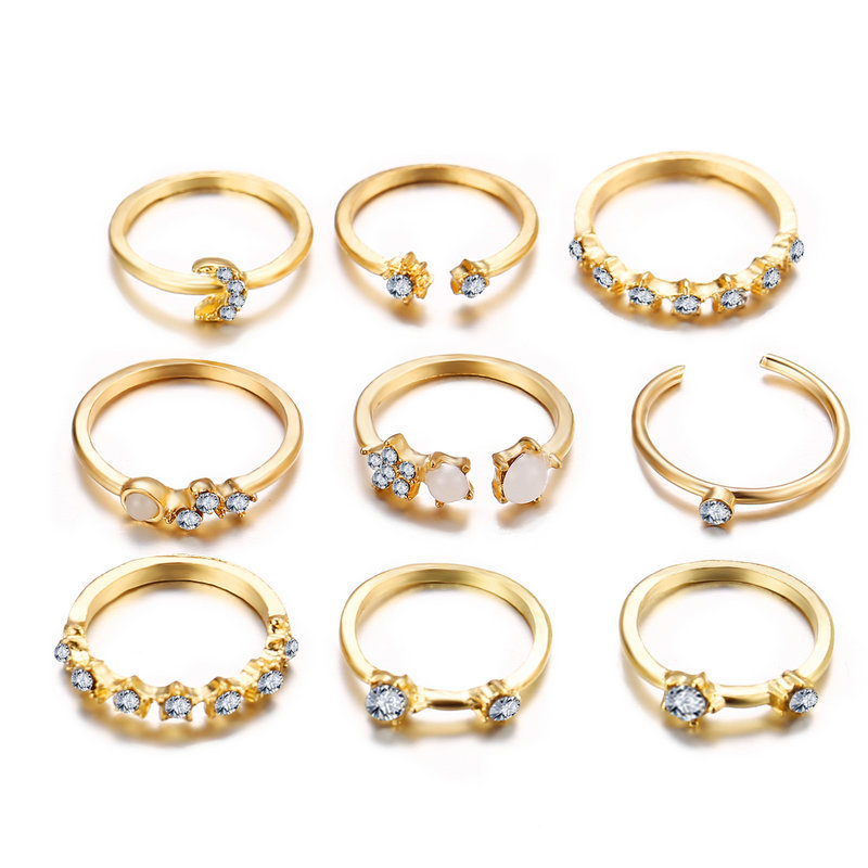 star crescent ring 9 piece set creative retro simple alloy joint ring wholesale niihaojewelry NHPJ223467