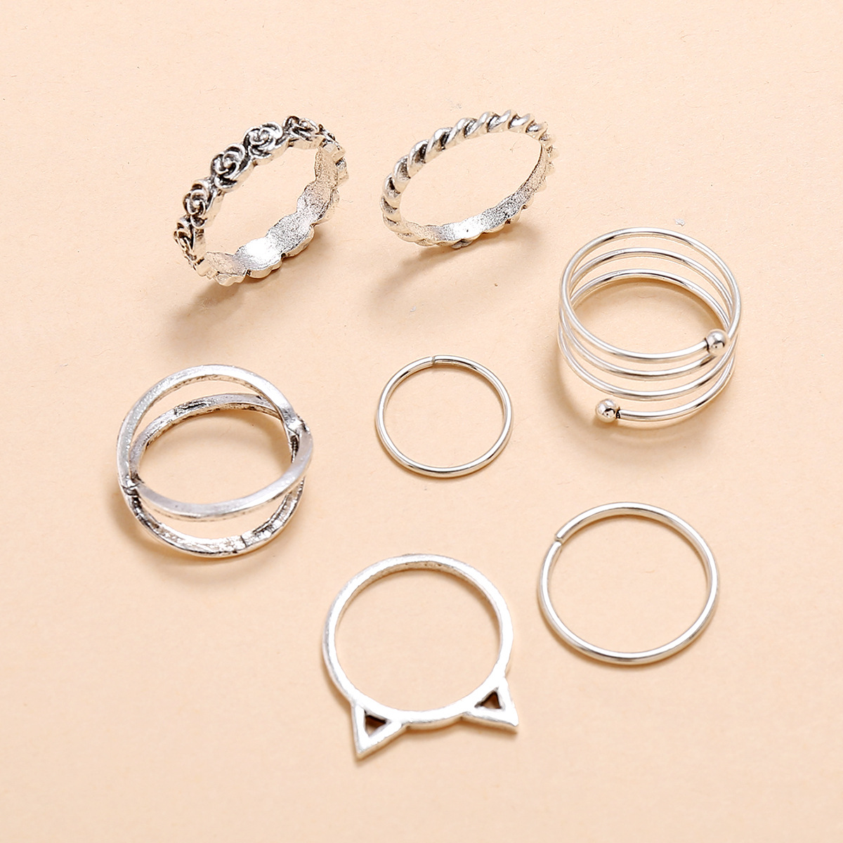 Retro Spring Cross Rose Cat Ears Twisted Twine 7 Seven-piece Set Ring NHPV205108