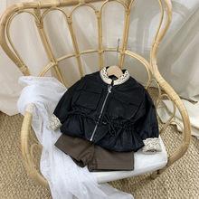 女童加絨皮衣2020新款秋冬裝加絨洋氣加厚皮夾克時尚棉服兒童外套
