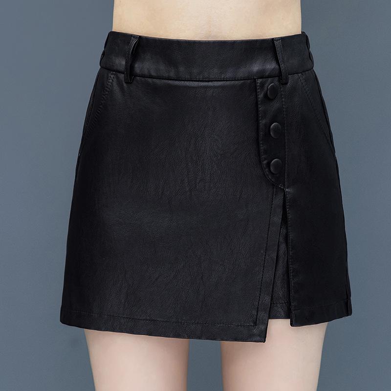 假两件皮裤裙女春秋2020年新款松紧腰打底高腰显瘦外穿真皮靴裤潮