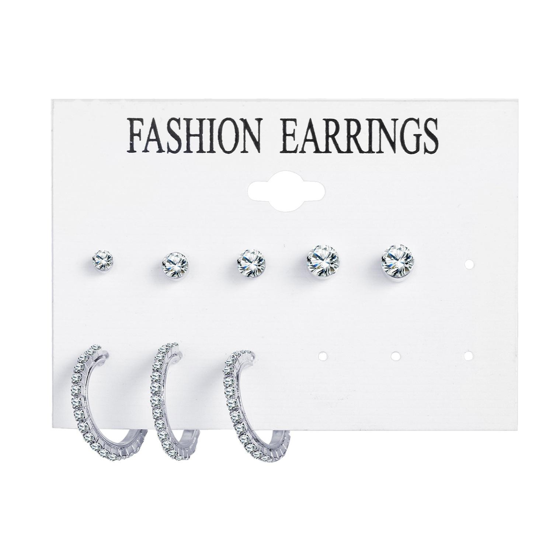 hot-sale fashion simple  new alloy single ear set 8 piece set creative retro simple metal earrings set nihaojewelry wholesale NHPJ216247