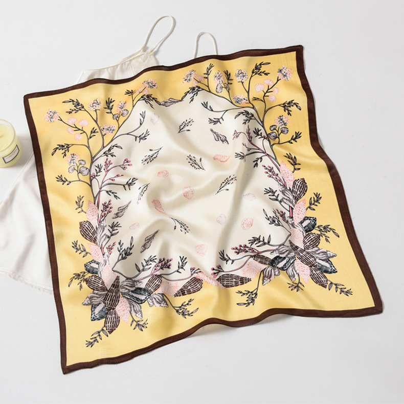 fashion new simple  square  silk scarf  new street sense full spring wild printed  scarf for lady wholesale NHTZ217845