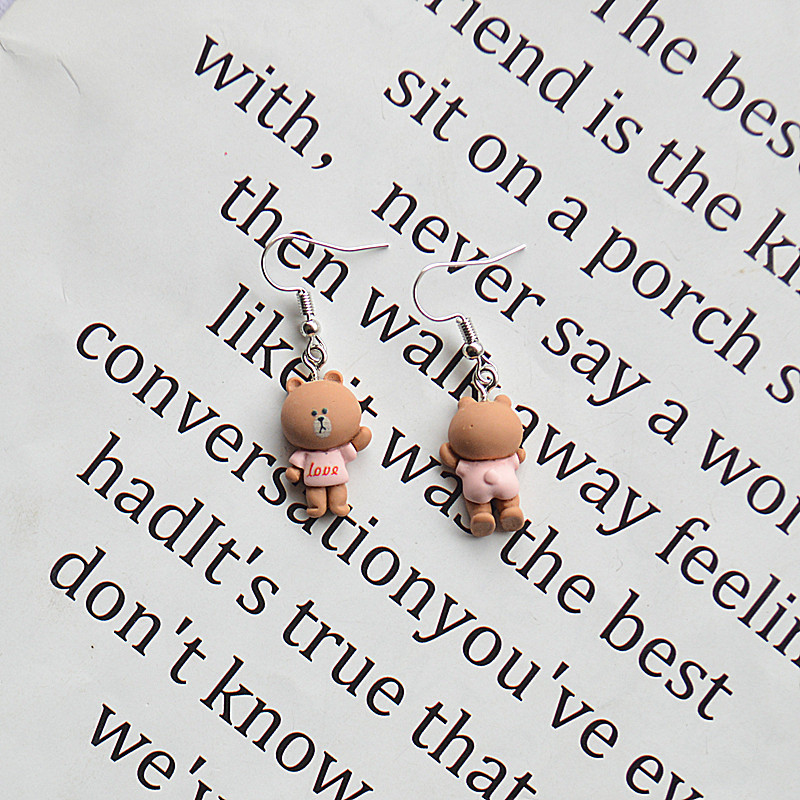 Fashion Little Frog Simulation Three-dimensional Front And Back Duck Frog Rabbit Bear Epoxy Earrings