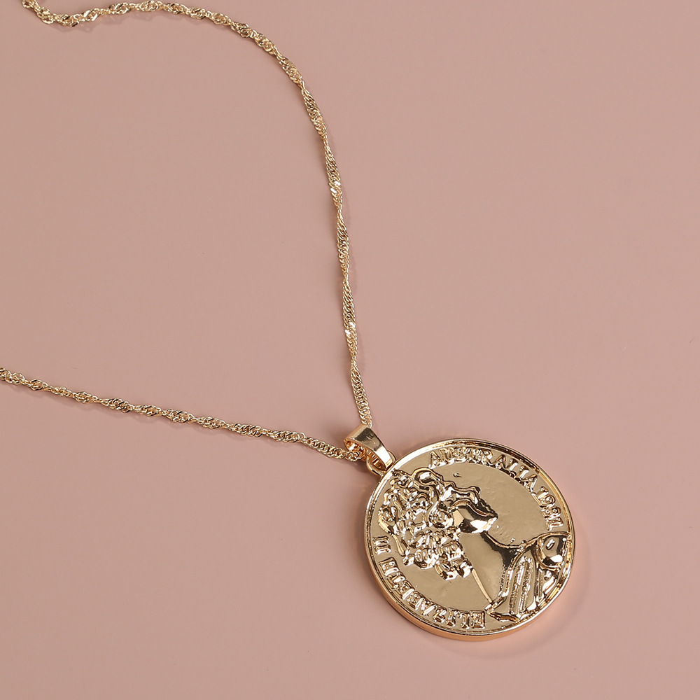 Hot selling fashion portrait embossed silver coin round pendant singlelayer necklace wholesale NHAN260468