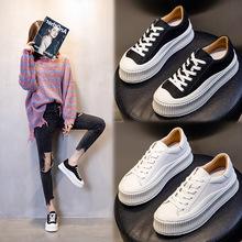 小白鞋女真皮春季2021新款休闲运动松糕跟单鞋厚底增高平底女鞋潮