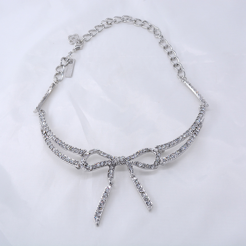 New fashion rhinestone bow and diamond necklace sexy crystal clavicle chain for women wholesale NHNT204571