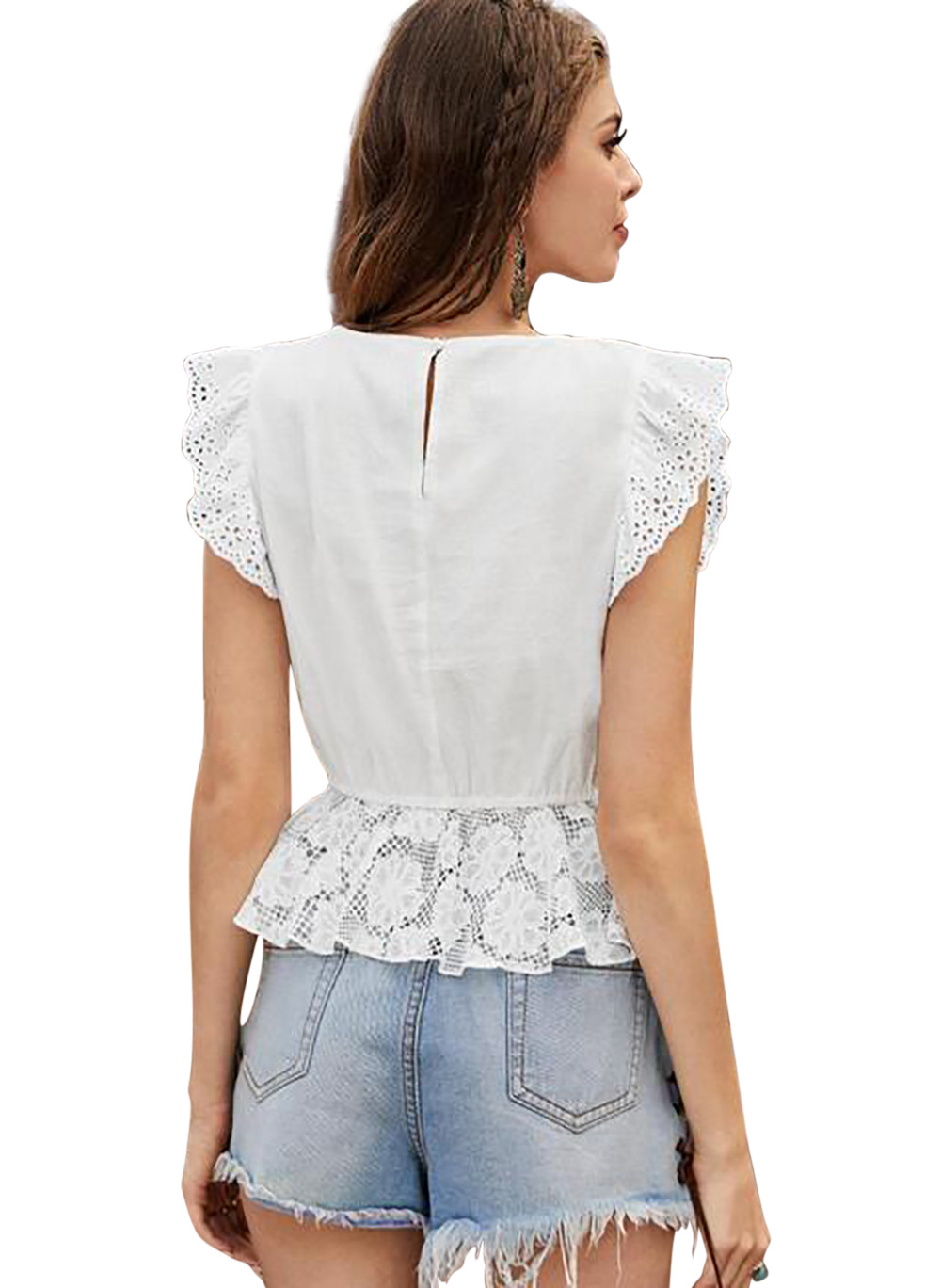 Sexy see-through cropped top ruffled lace shirt wholesale  NSDF1510