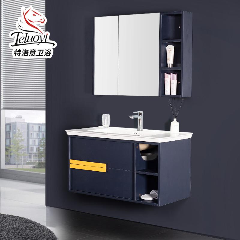 美式实木吊柜一体盆浴室柜组合家用洗手盆隐藏式收纳镜柜厂家定制