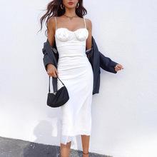 ebay热卖欧美新款女装白色吊带裙修身中长裙褶皱低胸性感连衣裙