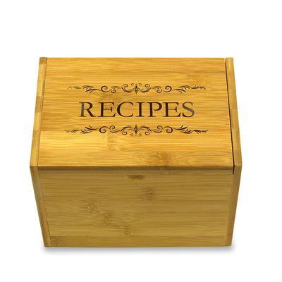 畅销款天然竹食谱盒木食谱收纳盒木质食谱盒