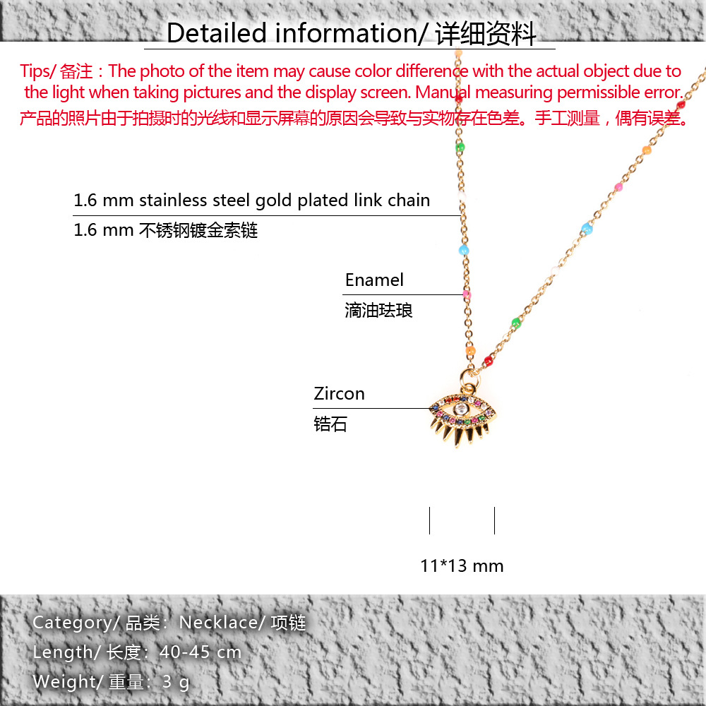 new micro-inlaid color zircon eye devil eye copper pendant necklace clavicle chain NHPY257892
