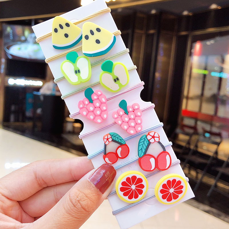 New fashion cute acrylic vegetables and fruits cheap scrunchies set wholesale NHNA212639