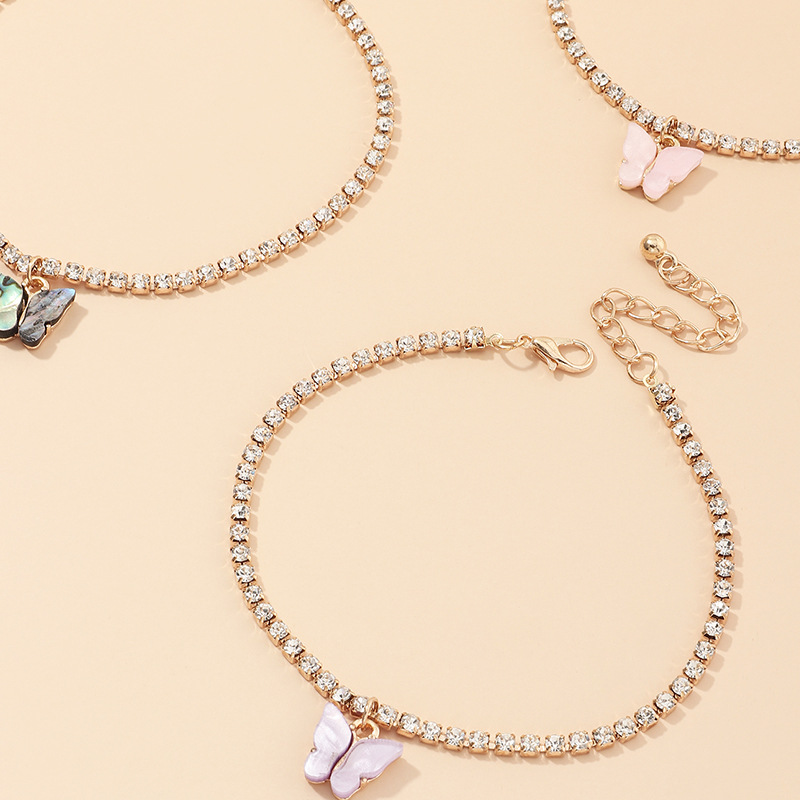 fashion jewelry fashion full diamond chain footwear trend small butterfly anklet suit wholesale nihaojewelry NHNZ234131