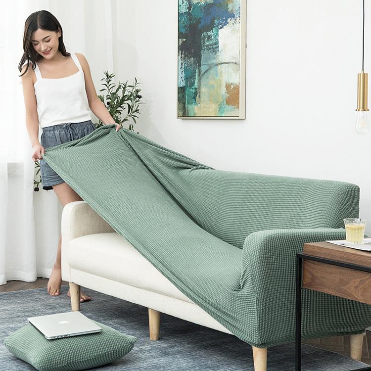 六航纯色四季通用沙发罩北欧时尚针织弹力全包沙发套沙发垫