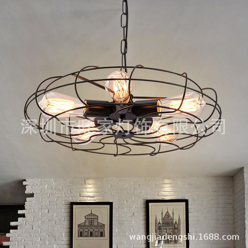 美式复古铁艺风扇吊灯客厅餐厅卧室酒吧台店铺创意艺术铁艺吊灯具