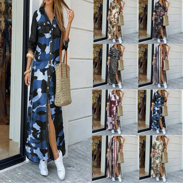 fashion printing long sleeve shirt skirt long dress NSYF1826