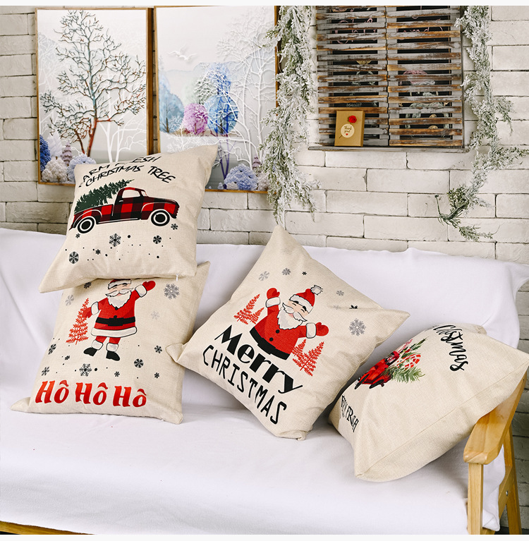Christmas new decorations linen pillowcases creative elderly Christmas car pillowcase  NHHB262264