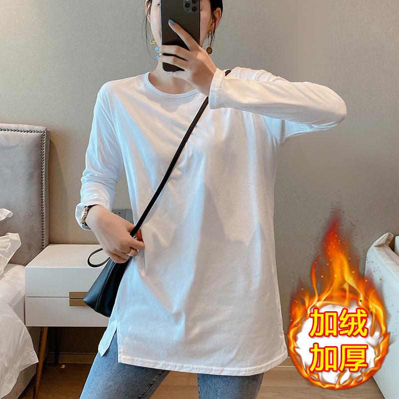 2020加绒加厚中长款打底衫女T恤上衣宽松显瘦白色韩版女装