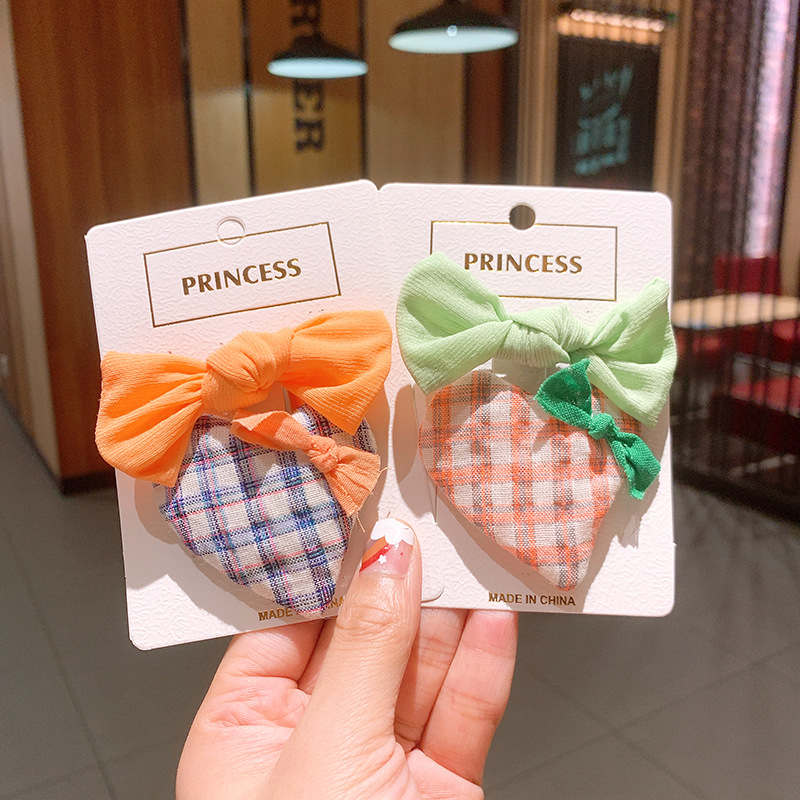 Korean love plaid girls solid color small bow children bb clip rubber band  NHSA243444